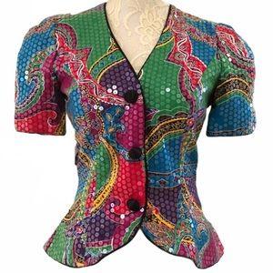 Vintage Lillie Rubin Sequined Blazer Suit Top
